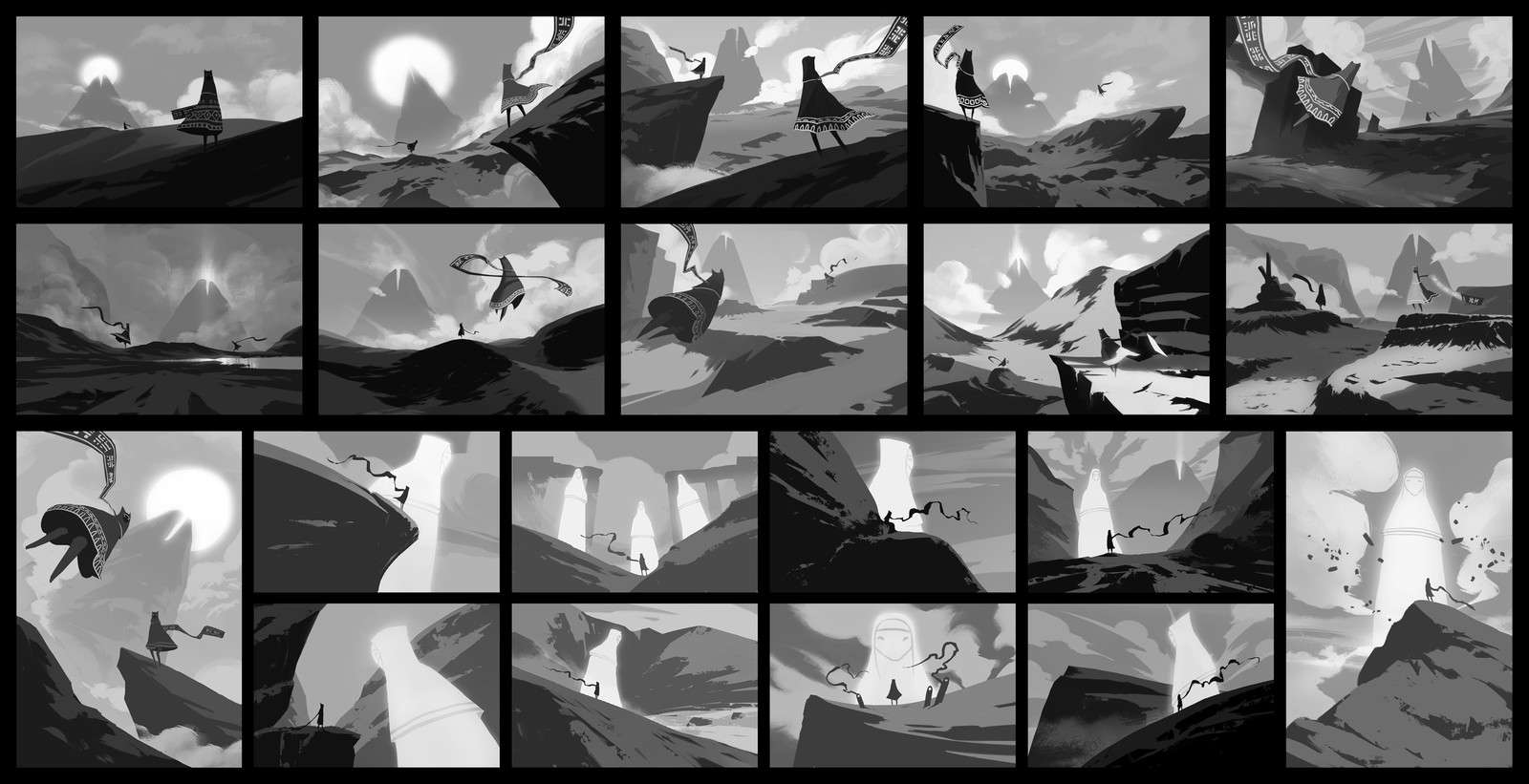 Collection of all composition sketches i did. They chose first two sketches from the second row, so I did combination of those two