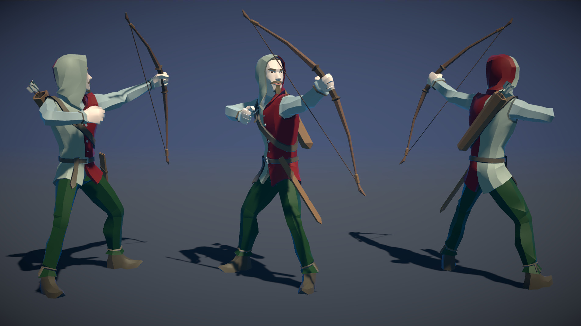 Polytope studio pt medieval lowpoly characters archer 01