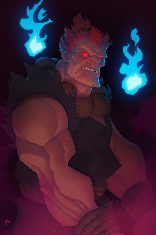 Akuma risks one of his trademark pink farts near open flames.