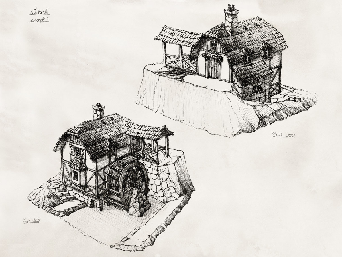 Perspective views of a watermill