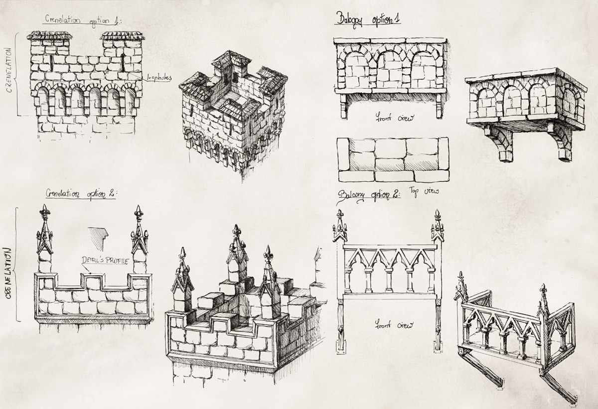 Details of castle's additions