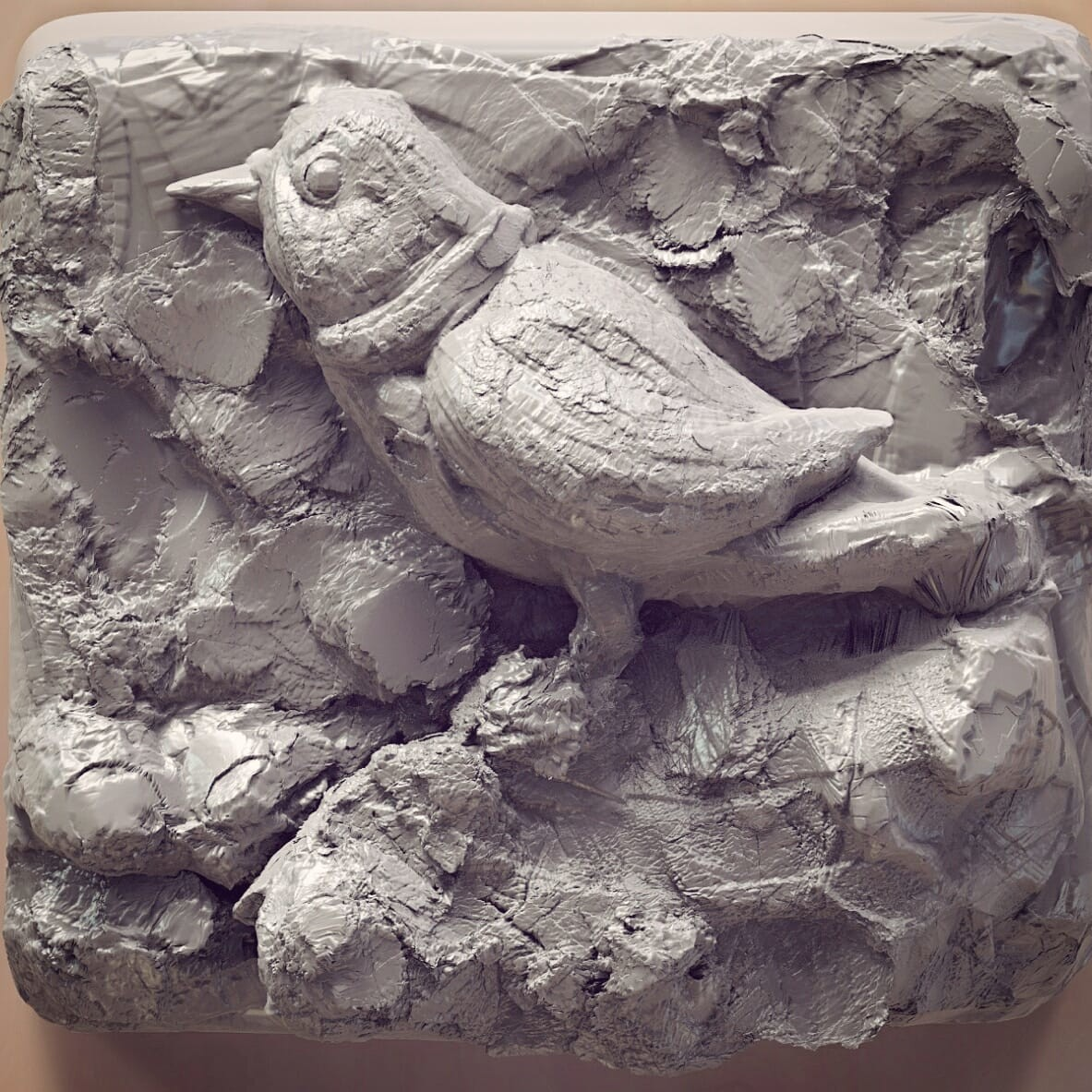 Recalling my childhood days when I tried to draw Bird like this.  Today I just played with clay and tools!   Wish to share.