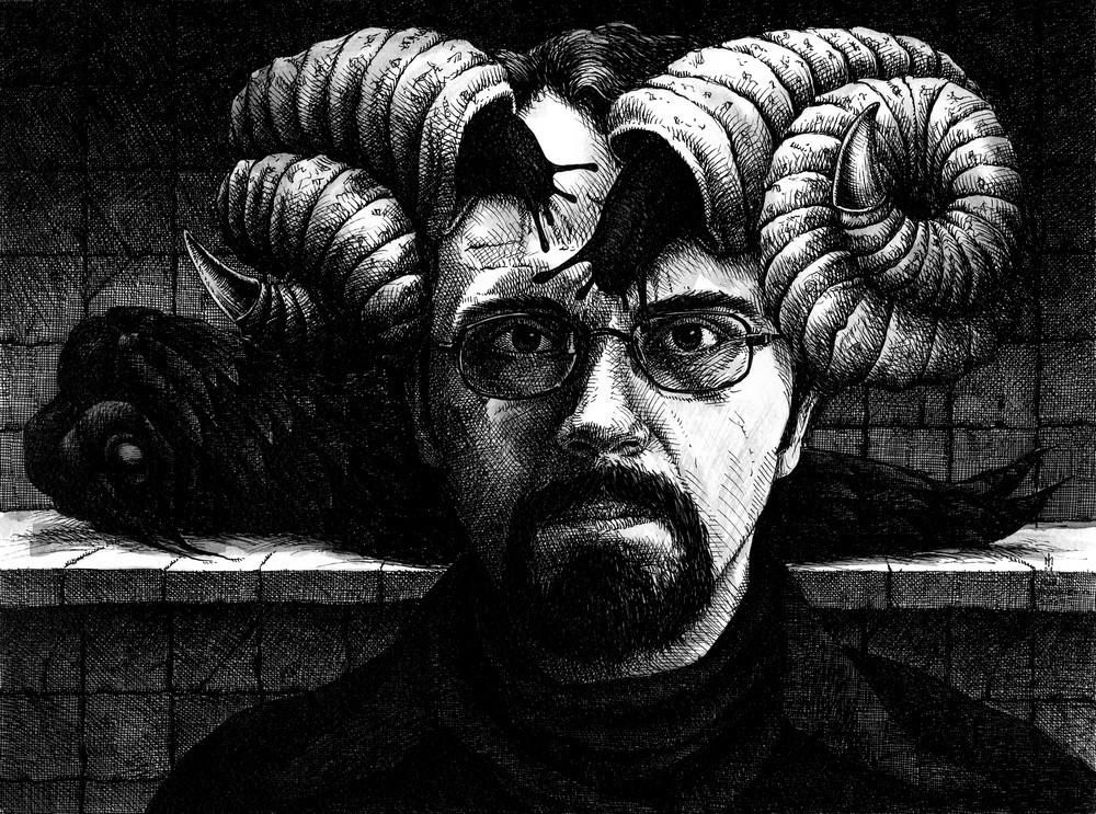 Igor myszkiewicz autoportret slimaczy tusz 30x40 cm