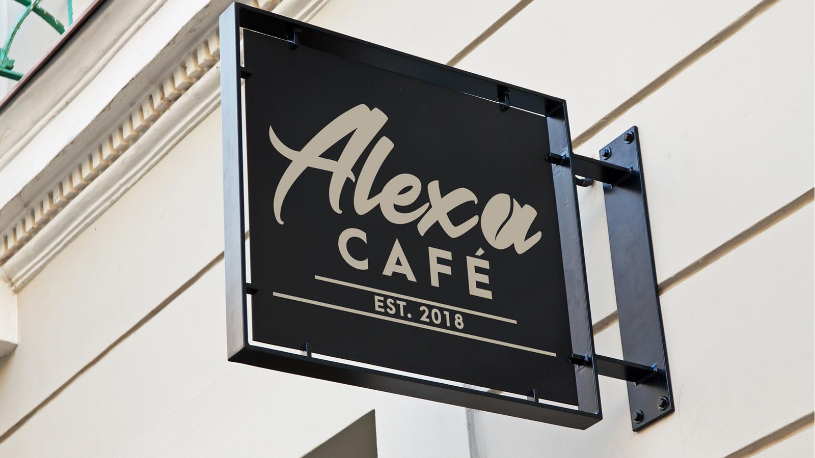 Alexa Cafè sign mockup