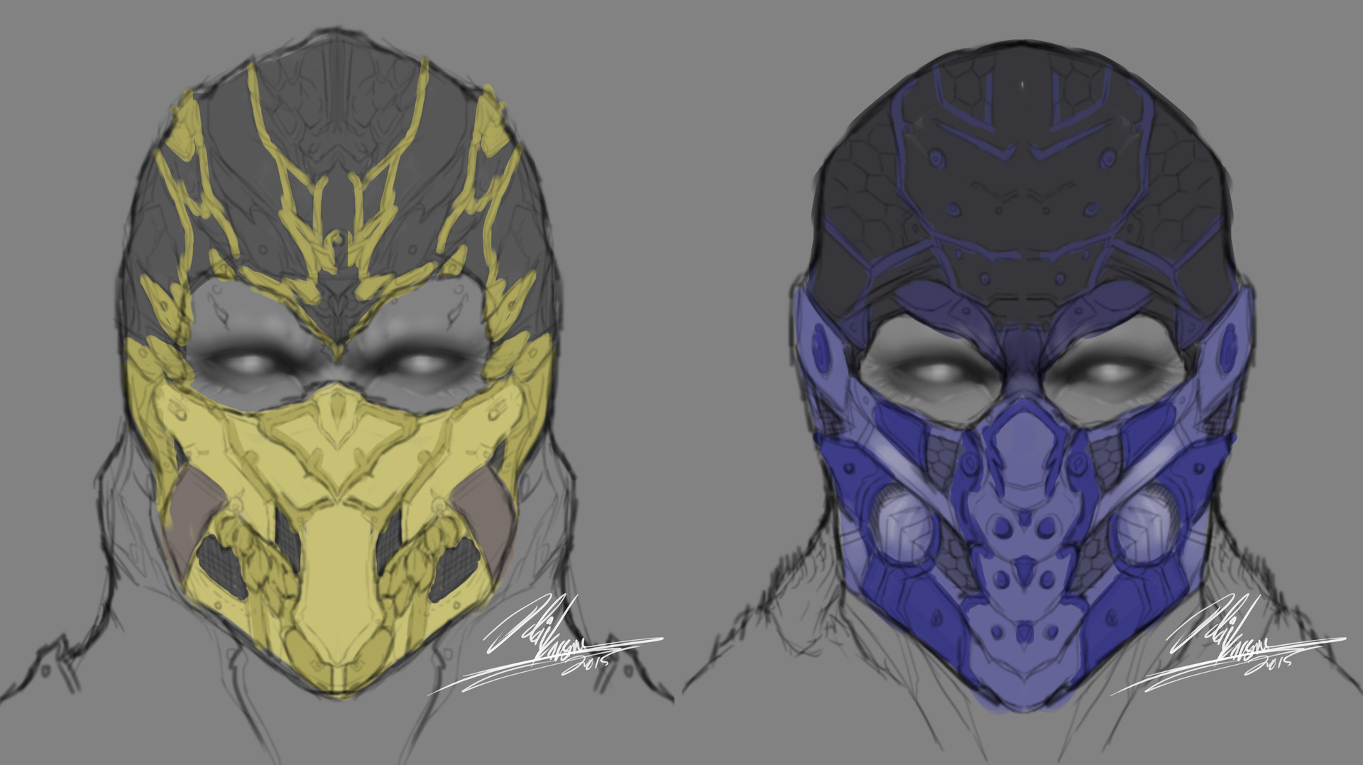 Artstation Old Scorpion And Sub Zero Mask Designs Odai Karsou