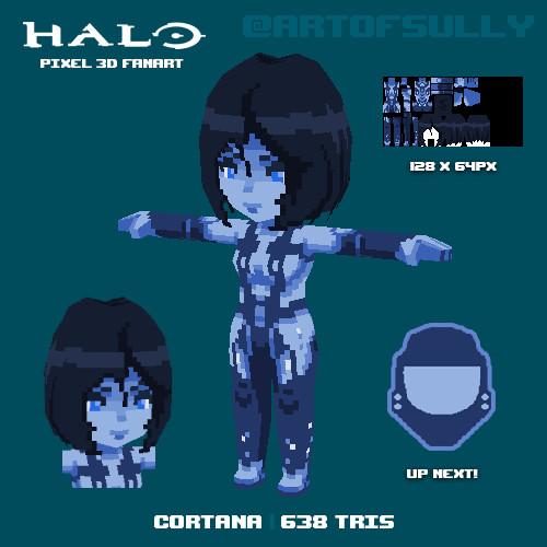 Cortana ('Halo' lowpoly pixel fanart)