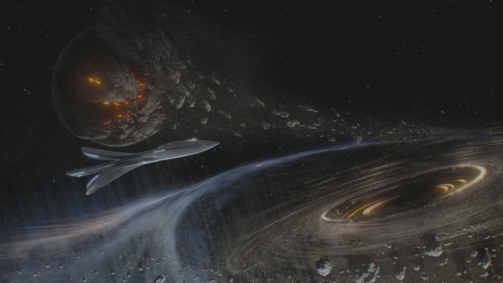 Orville: Opening Credits, Planet - Planet and black hole created with Photoshop and Modo