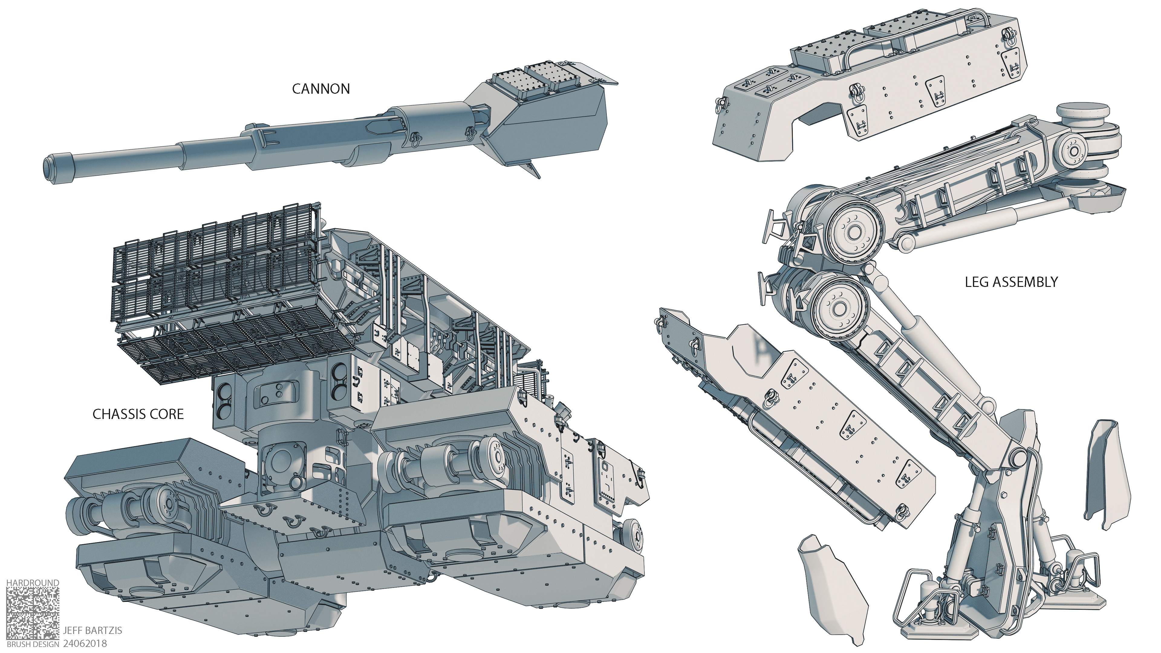 Detail view of leg mechanism, and other components.