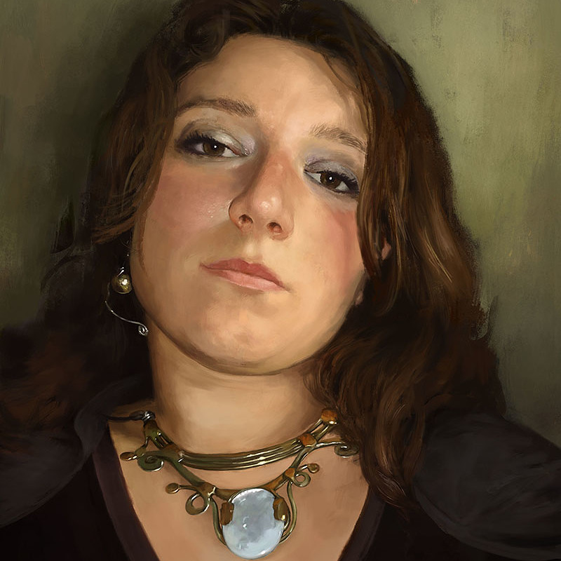 Pale stone necklace portrait
