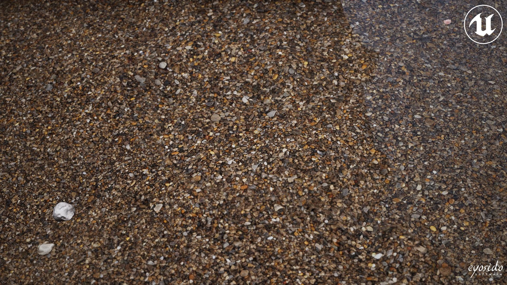 Dark sand on tessellated terrain in UE4 demo scene