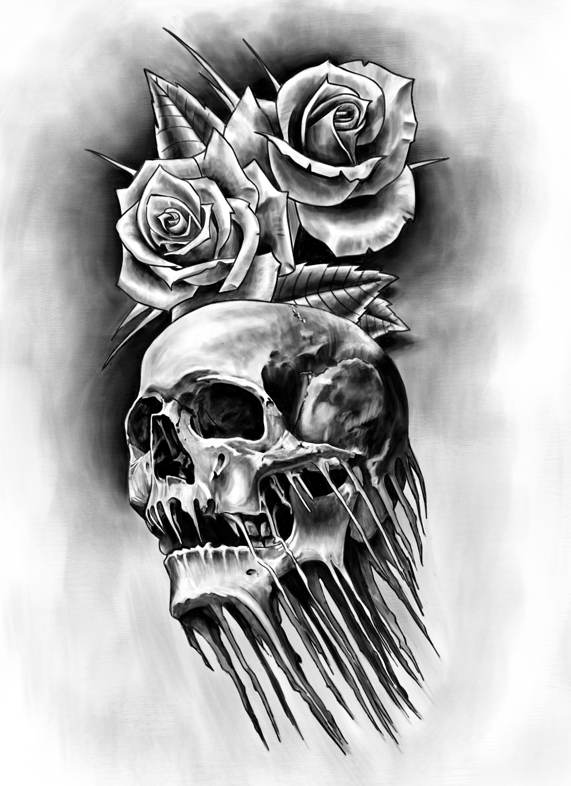 Artstation Skull Roses Tattoo John Espiritu Santo