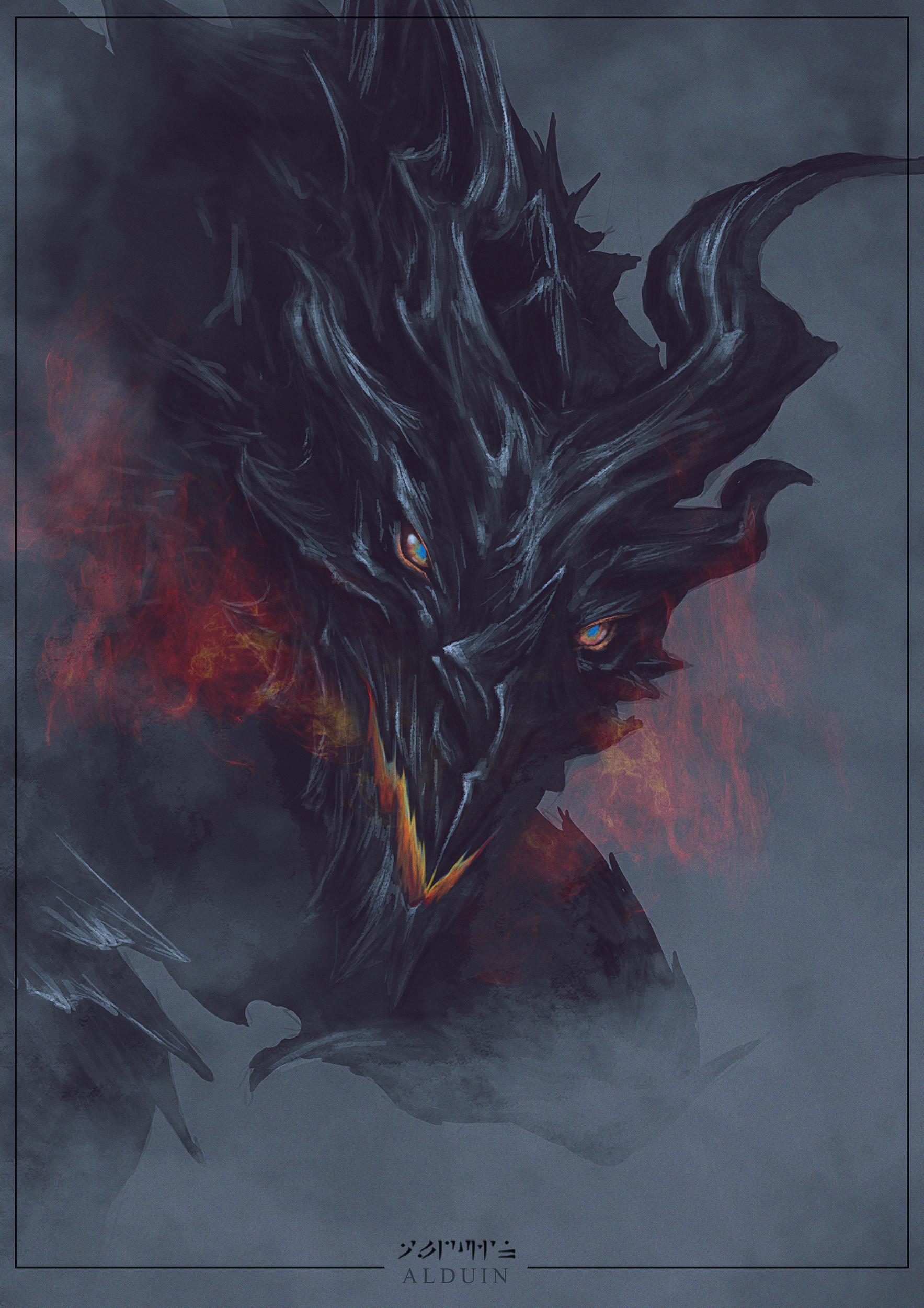 Artstation Alduin From The Elder Scrolls V Skyrim Fanart Debby Illanes