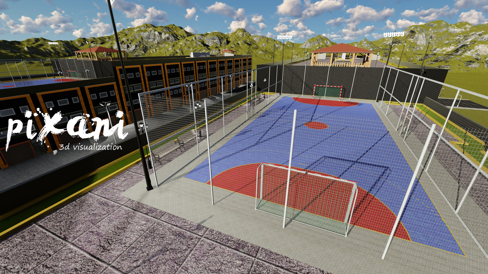 ModSan Industry Area Roof Top Basketball Court & Cafe  #3Dmodeling #tuzla #istanbul