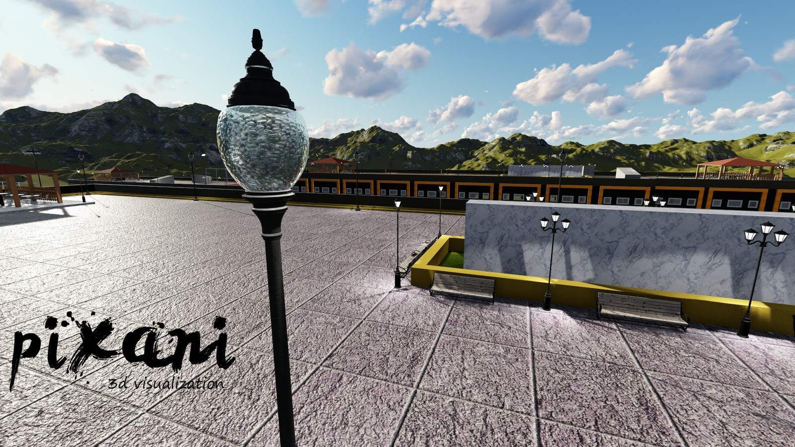 ModSan Industry Area ROOF TOP  CAFE AREA  #industry #roof #rooftop #iistanbul #glass #lamp #cgi