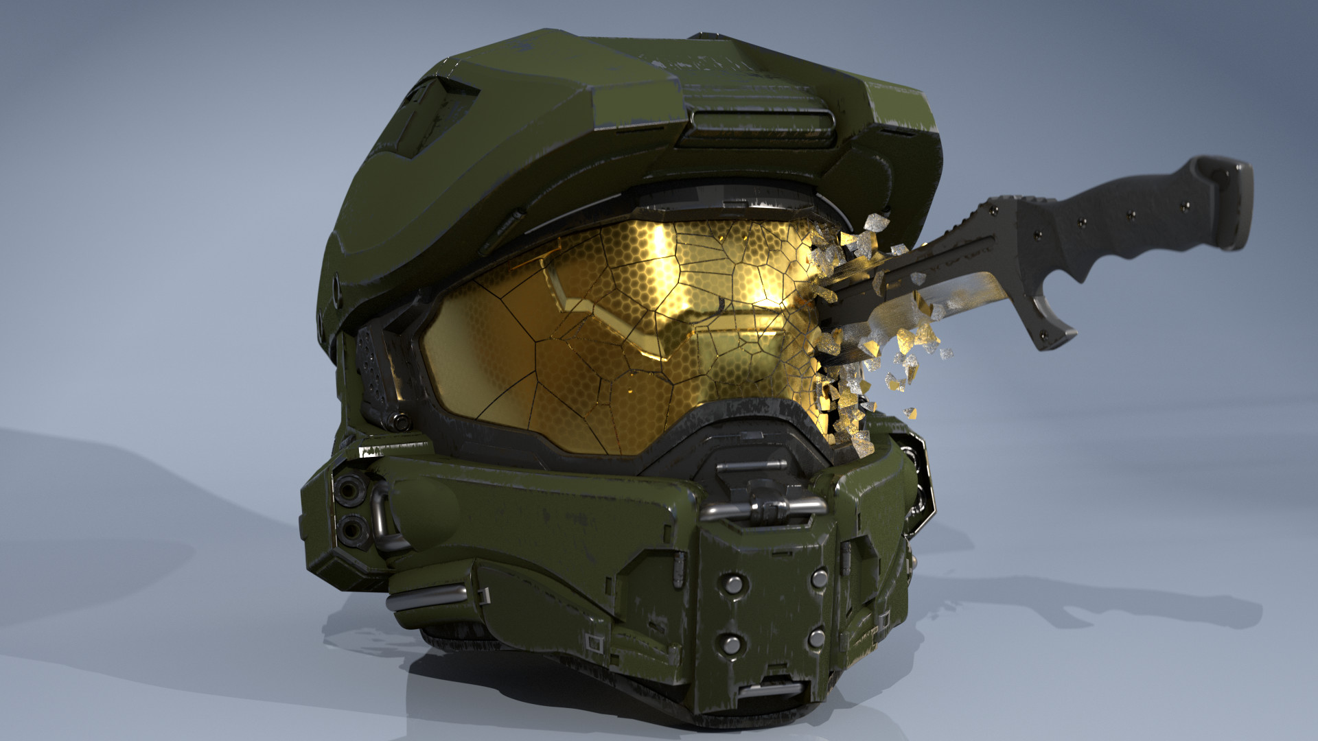 Kristian Berget Master Chief Helmet And Halo Combat Knife