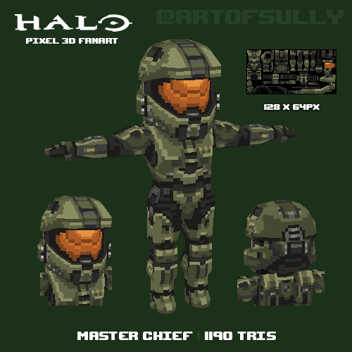 Master Chief ('Halo' lowpoly pixel fanart) [OLD VERSION - SEE BLOG!]