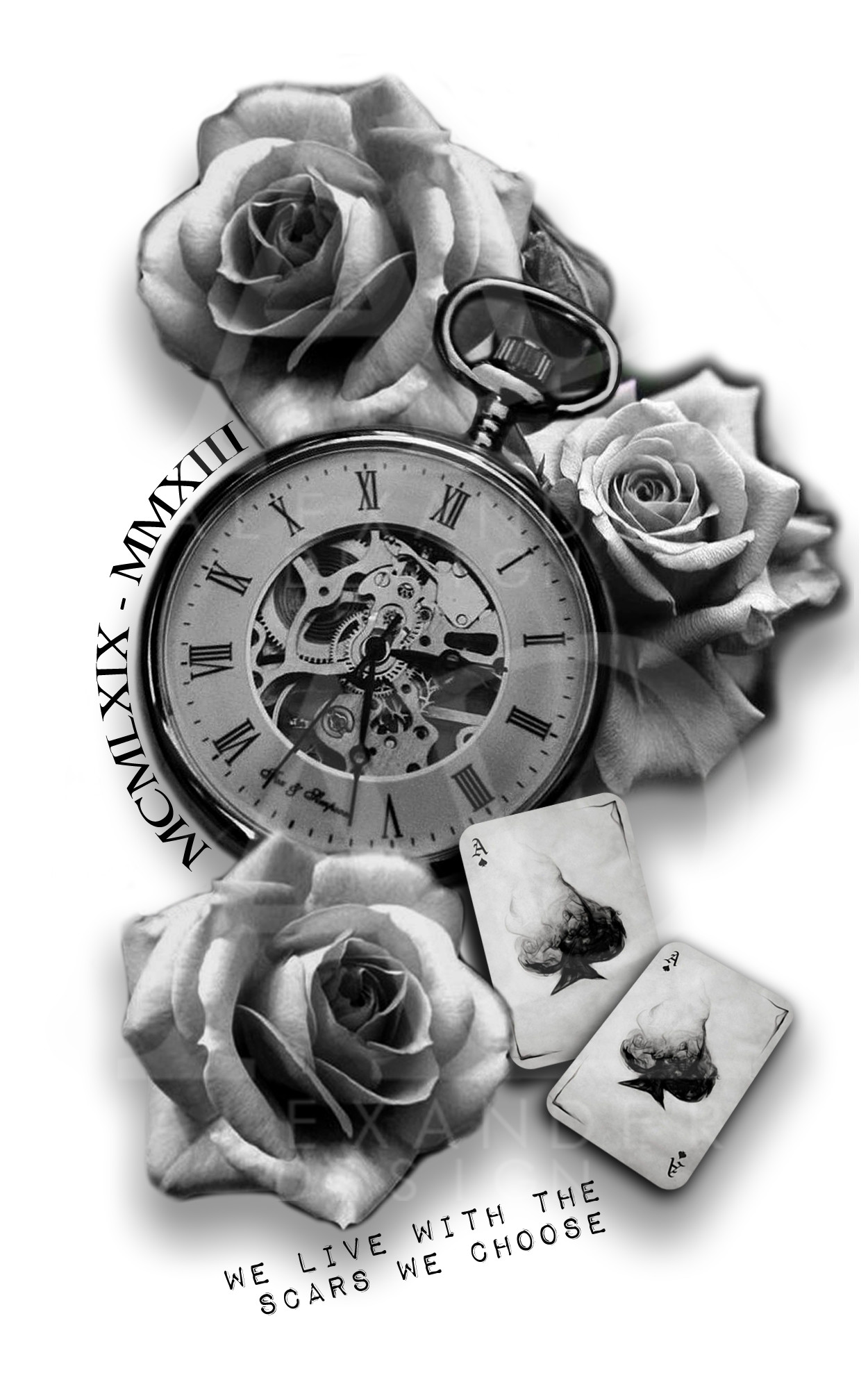 Rose Clock Tattoo Designs Drawing: TATTOO SLEEVE WITH POCKETWATCH AND ROSES