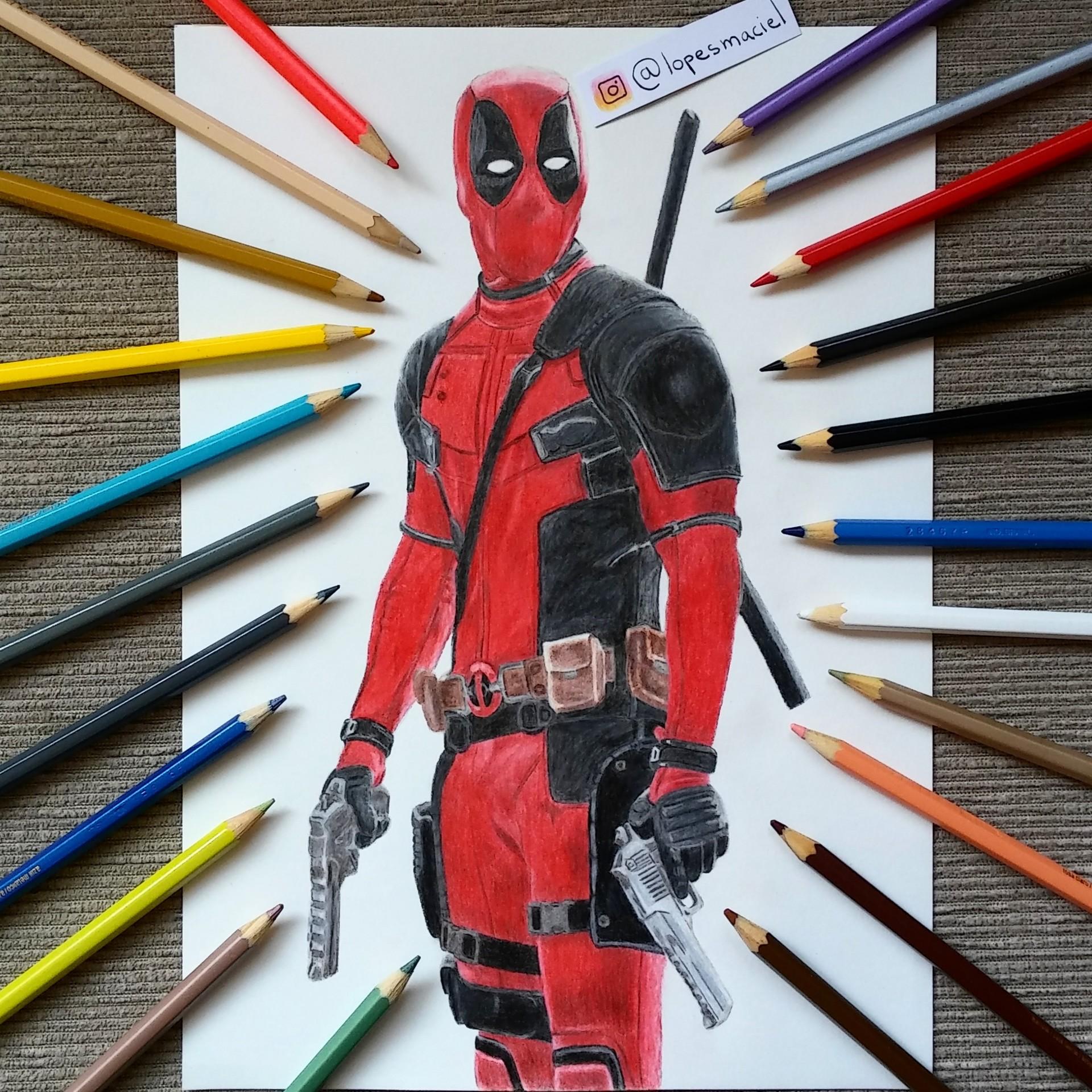 Artstation Deadpool Realistic Color Pencil Drawing Lopes