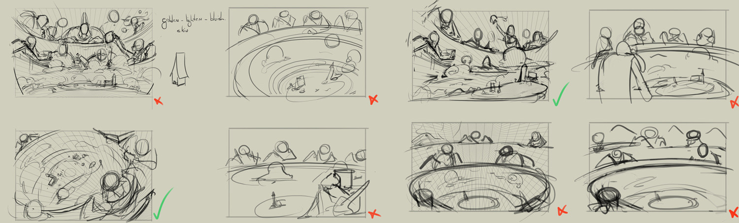 Composition Thumbnails. I am currently working on the bottom-left one for another promoart for the same client.