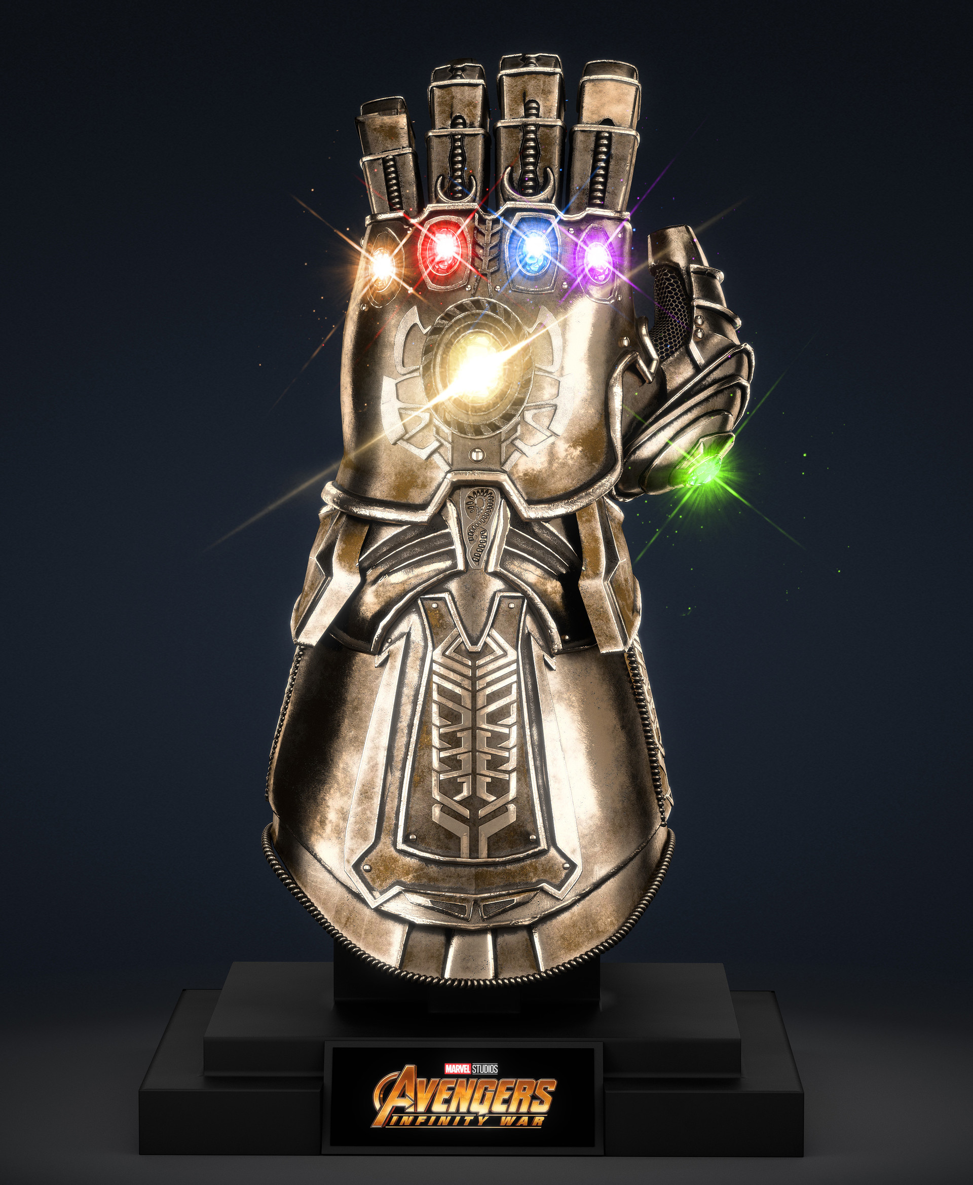 artstation thanos infinity gauntlet avengers infinity war 3d max