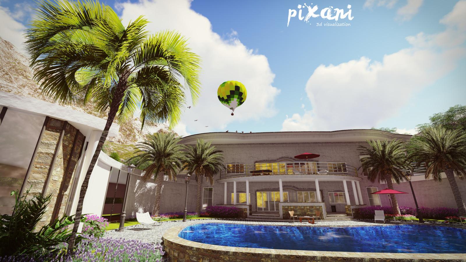 Double floor BEAN  house design 5+1 +1 pool  + car park + balcony + garden