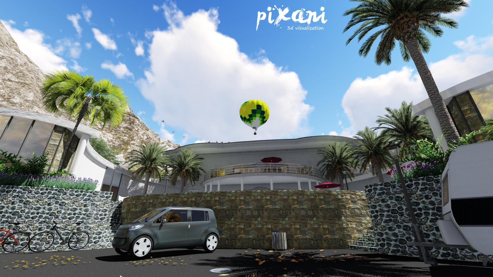 BEAN house entrance from main street #pixanirenders