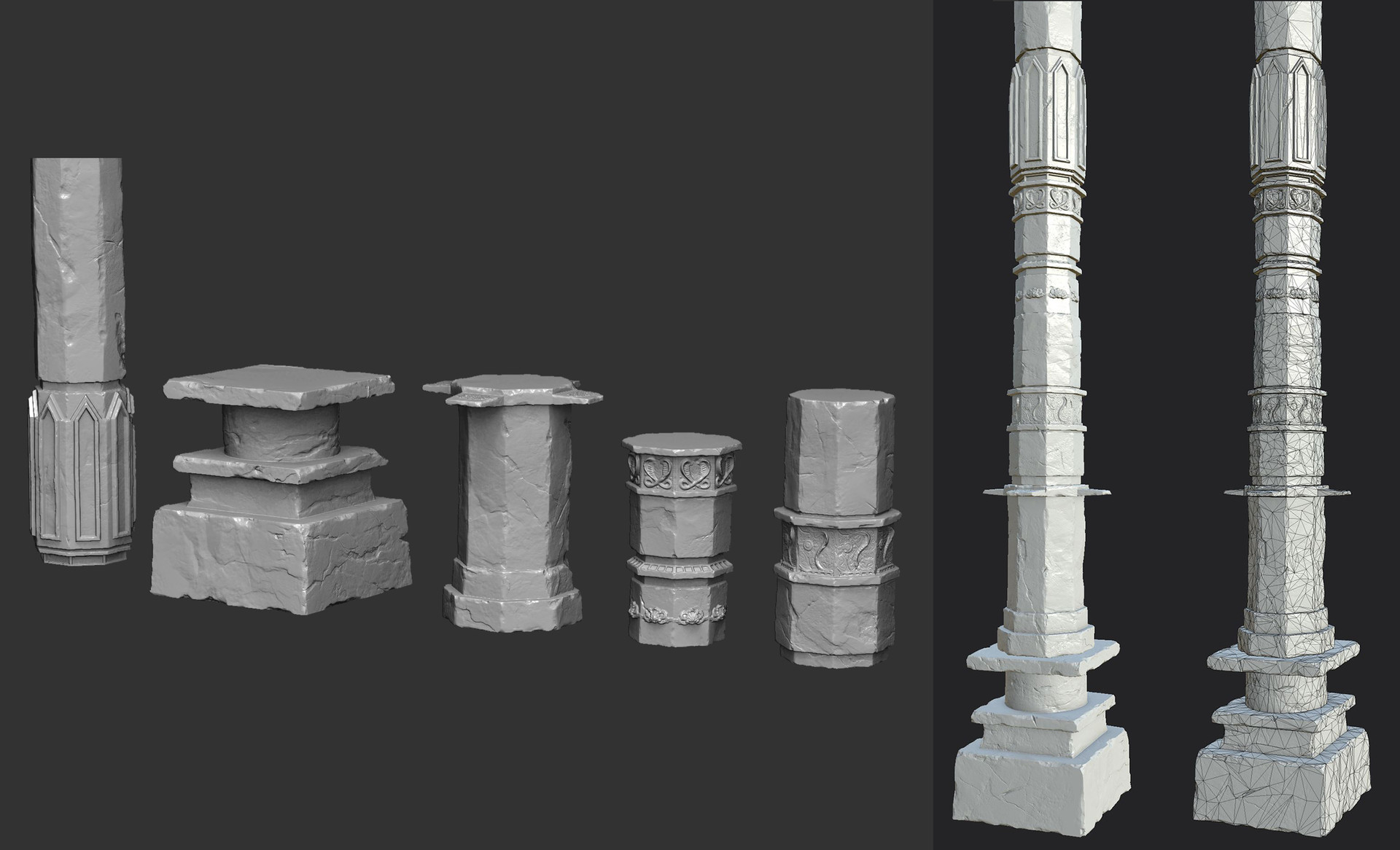 Zbrush model on left side, low poly bake and wire-frame on right side