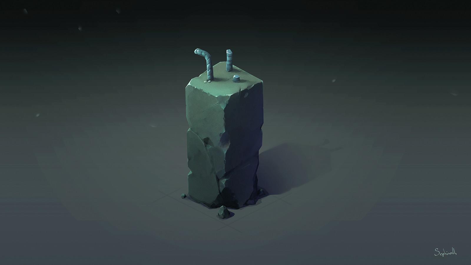 Isometric Damaged Stone Pillar