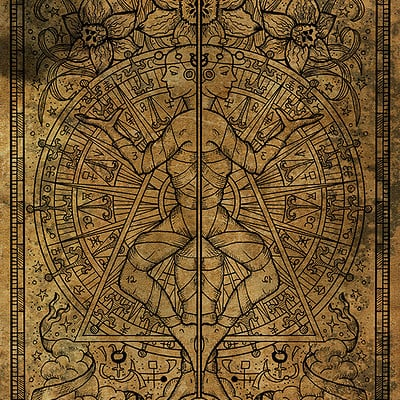 Vera petruk samiramay 03d zodiac sign gemini or twins on old paper texture background hand drawn fantasy graphic illustration in frame