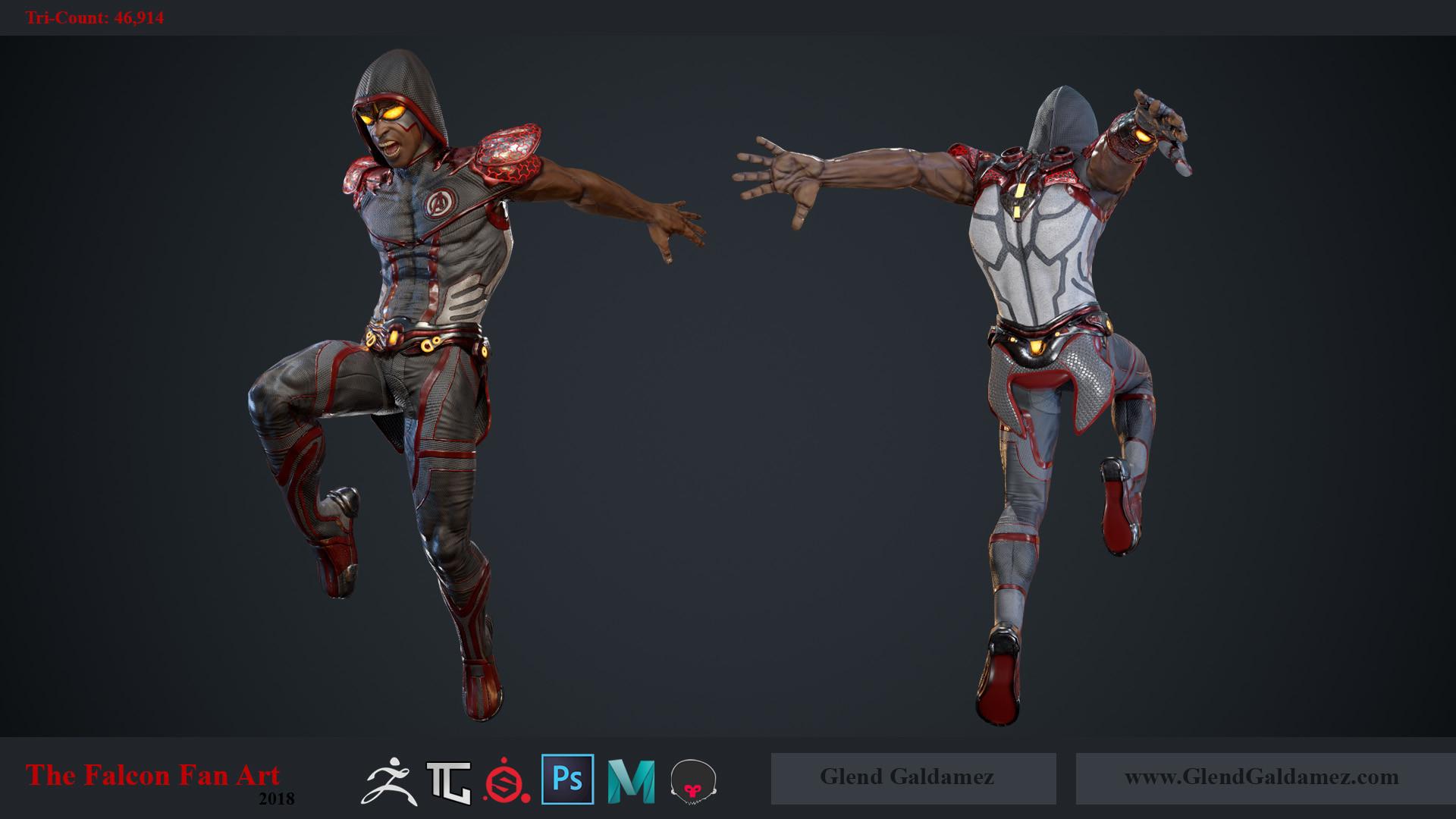 Glend Galdamez - The Falcon (Fan Art) - Game Ready Character Model