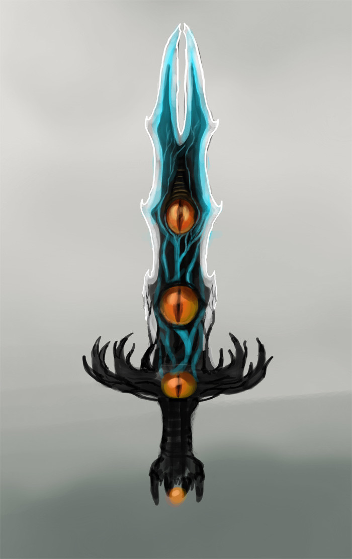 Initial idea for a sword with eyes