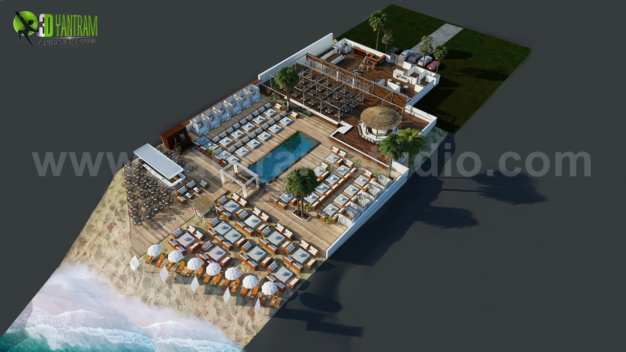 Artstation Beach Restaurant 3d Floor Plan Design Ideas By Architectural Animation Studio Paris France Yantram Architectural Design Studio