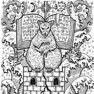 Vera petruk samiramay 01 rat symbol in frame scary mouse sitting on tower with book and mystic signs copy