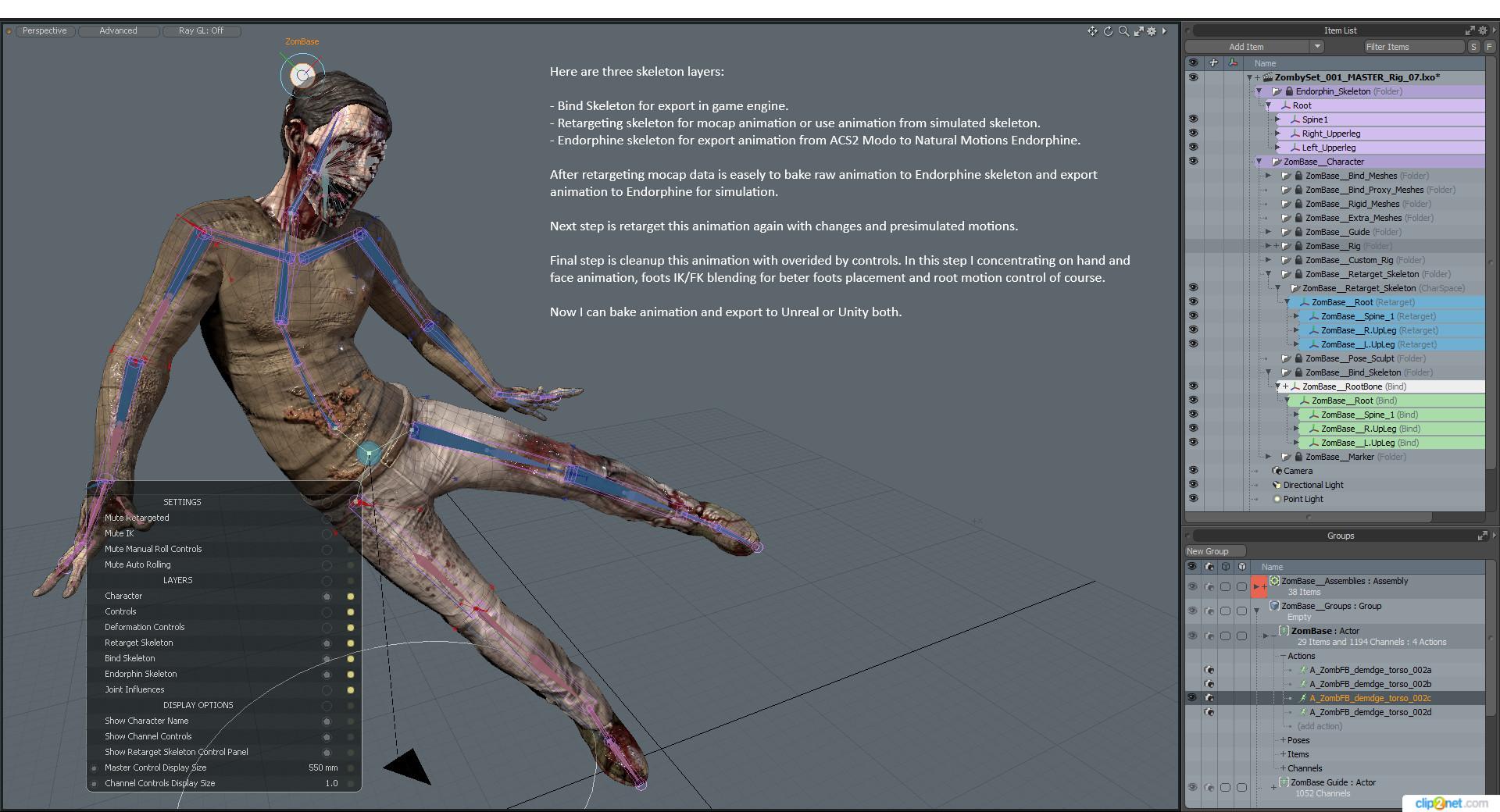 Animation Retargeting anton gornakov - modo acs2 advanced animation with extended rig.