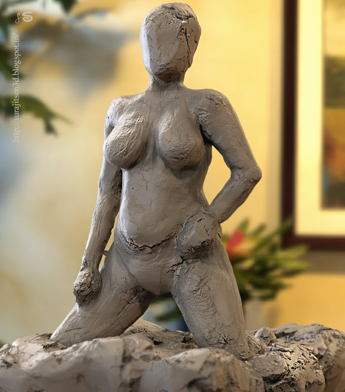 """#roughsculpt #quicksculpt #study   One of my quick sculpt study......""""The Posing"""". Wish to share."""