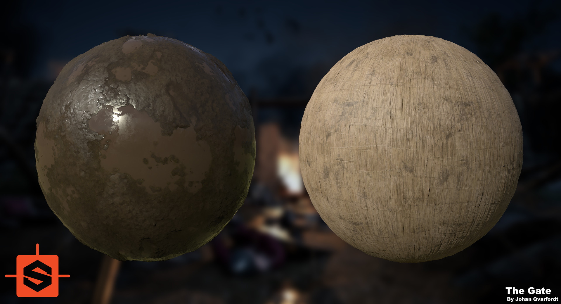 I did not end up working alot with Substance Designer during this project since I chose to try out Mixer instead, but these two materials were created from scratch and used during texturing.