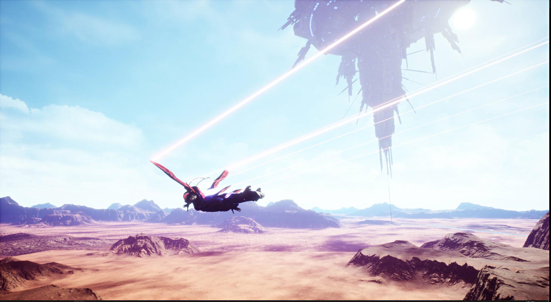 Over desert