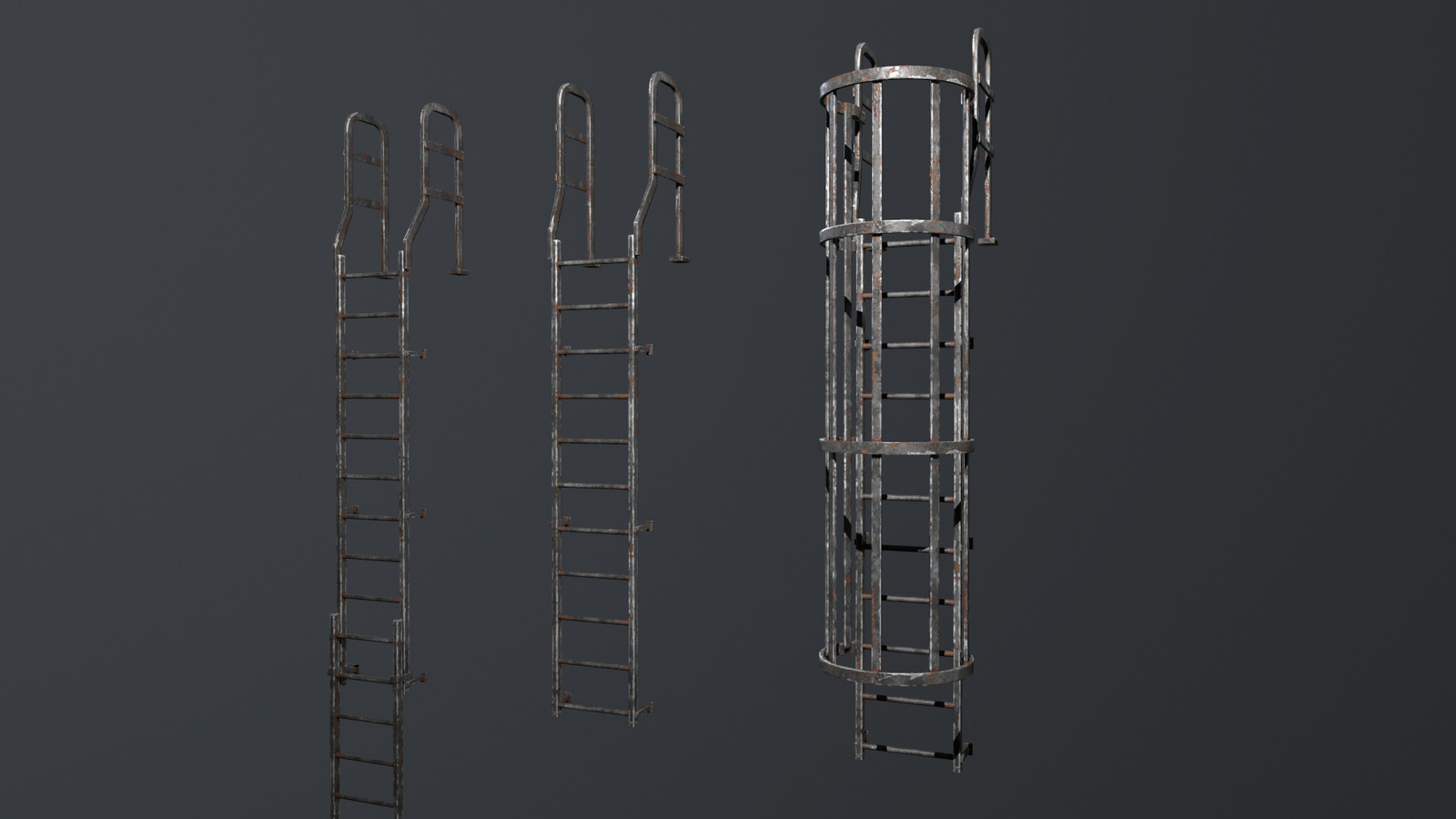 The ladder and fire escape kits were set up so the albedo could be tinted for colour variation along the buildings.