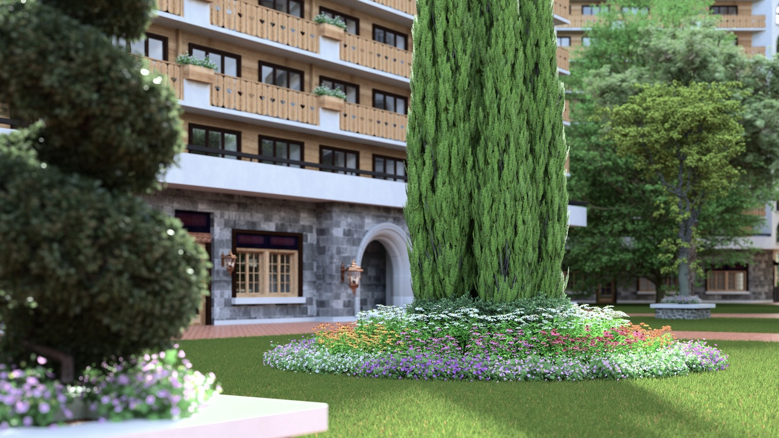 SketchUp 2018 + Thea Render V1.5 Ode to Vimage Visualisation 04 Eco Cycle Alpine hotel v2018-Scene 91 PMC 1024 s-px 2840x2160 4h15 HDR241 FP2900ZG.crf A  HDR 241 by HDRI-SKIES: http://hdri-skies.com/shop/hdri-sky-241/