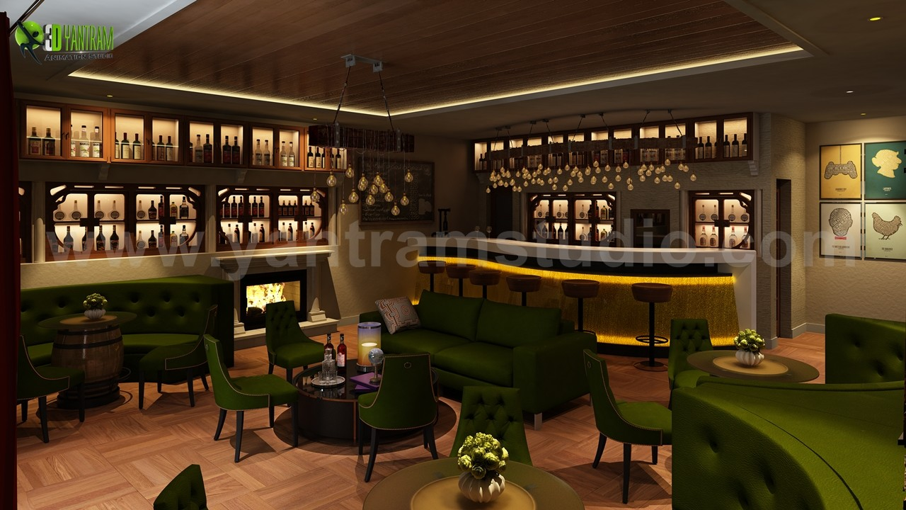 ArtStation - Bar & Restaurant interior design by Yantram 3D ...