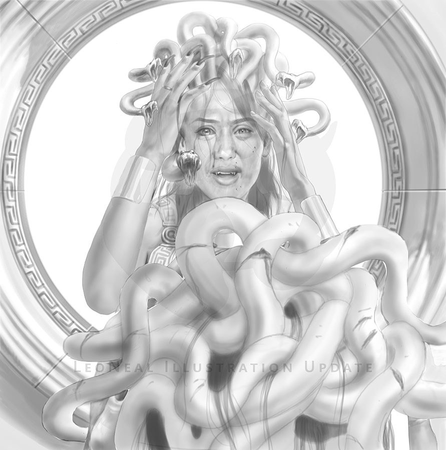 La vata e o neal the gorgon medusa illustration the transformation of medusa wip 2