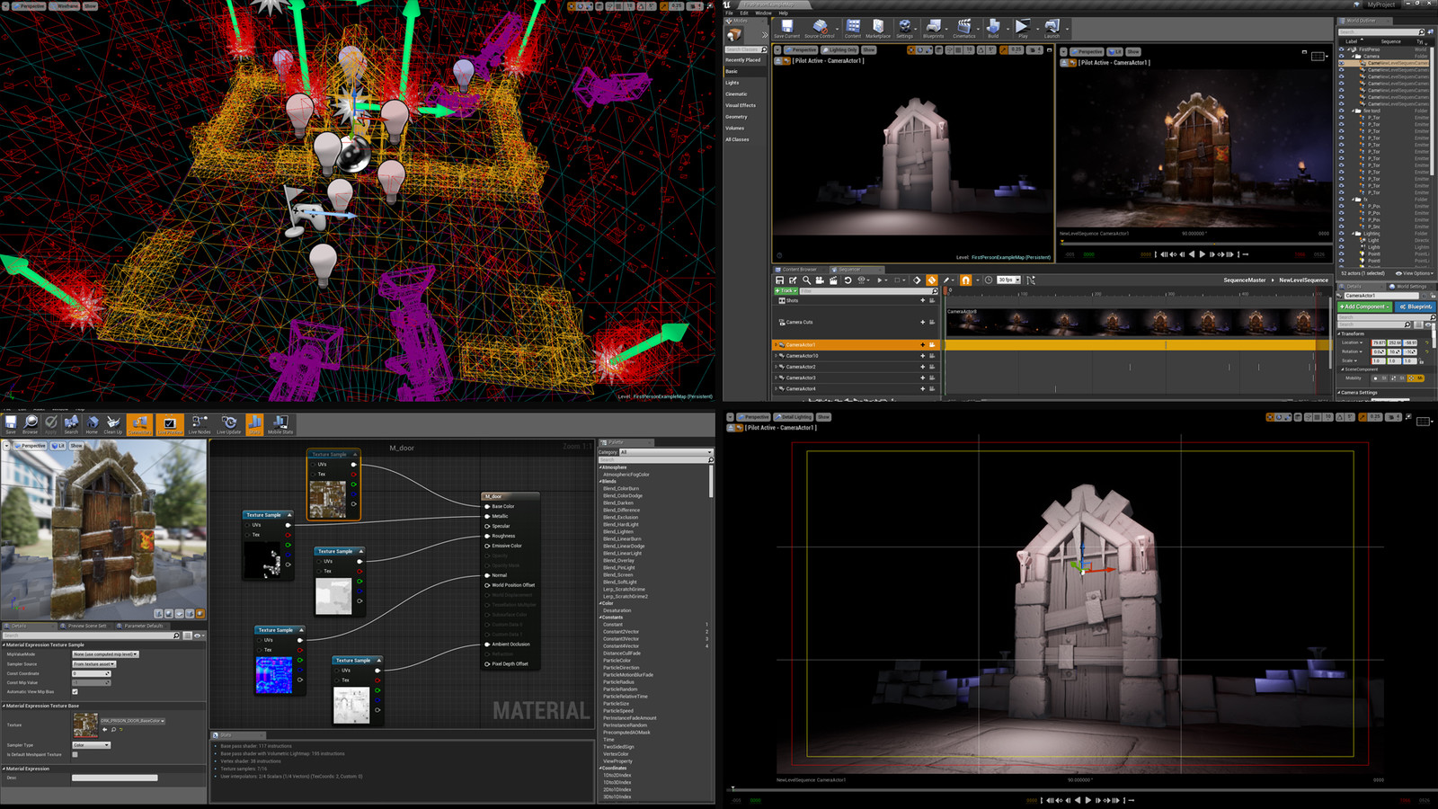 Unreal Engine 4 - Material setup, Lighting and Cameras. Created 8 cameras and used Sequencer to capture and export the clips.