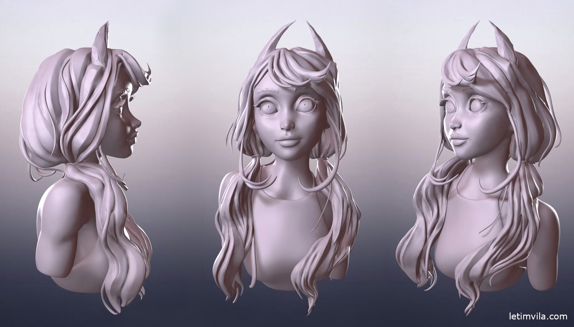 Demon girl, marmoset clay render views