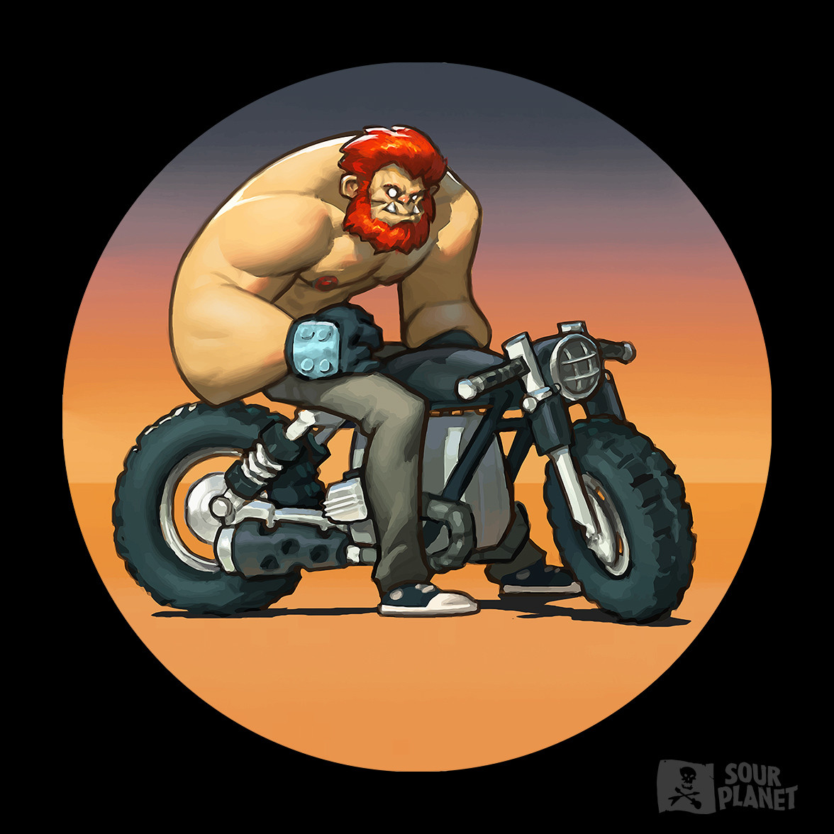 The brand mascot, pretty much. Doofy, shirtless, meatball.