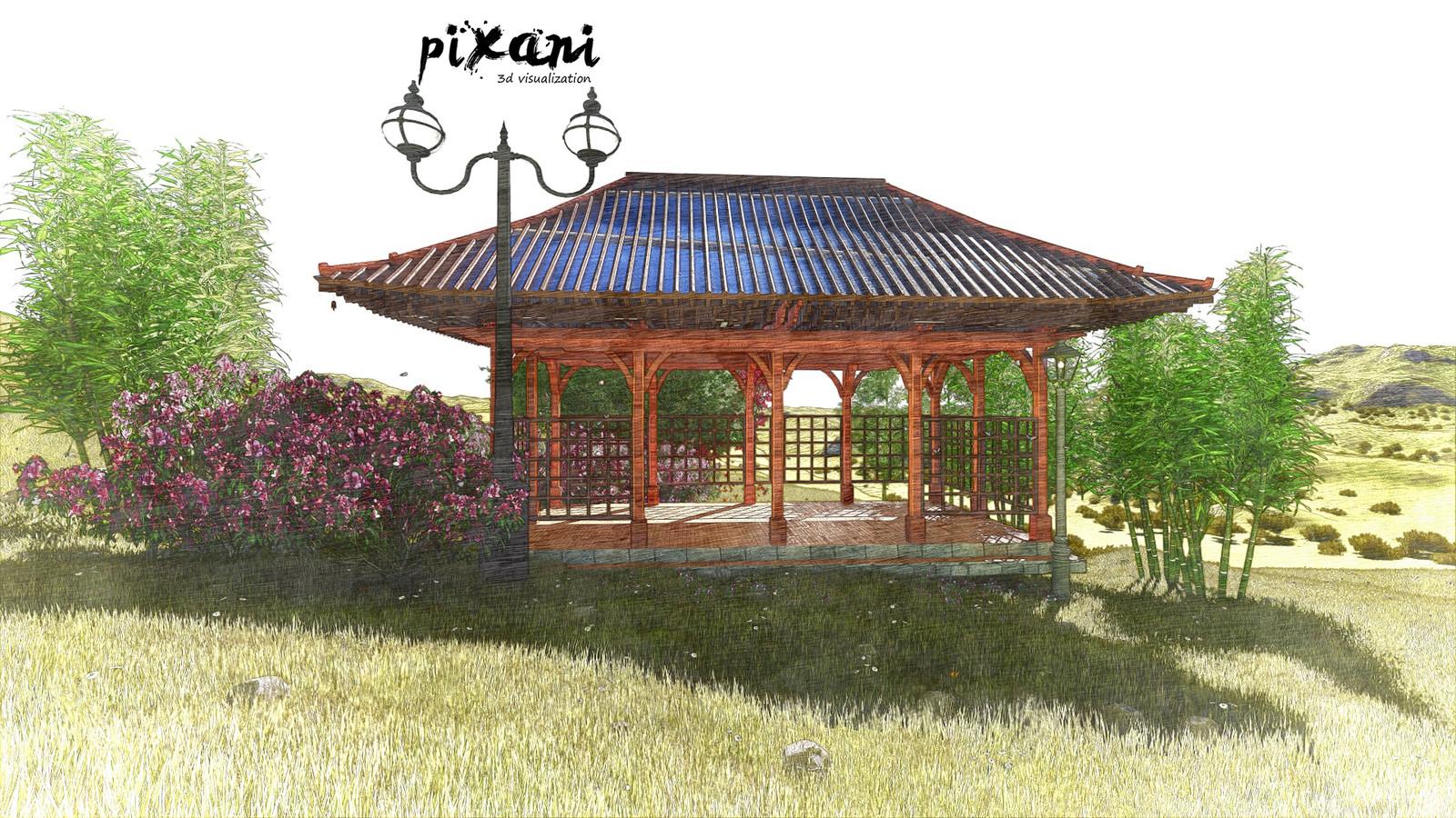 Chinese Pergola Design   P I X A N I . 3D Visualization