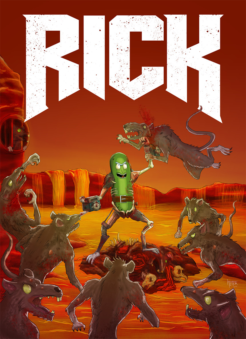 Pickle Rick being bad ass in reference to the Doom (2016) cover artwork. PICKLEEEEE RIIIICK!