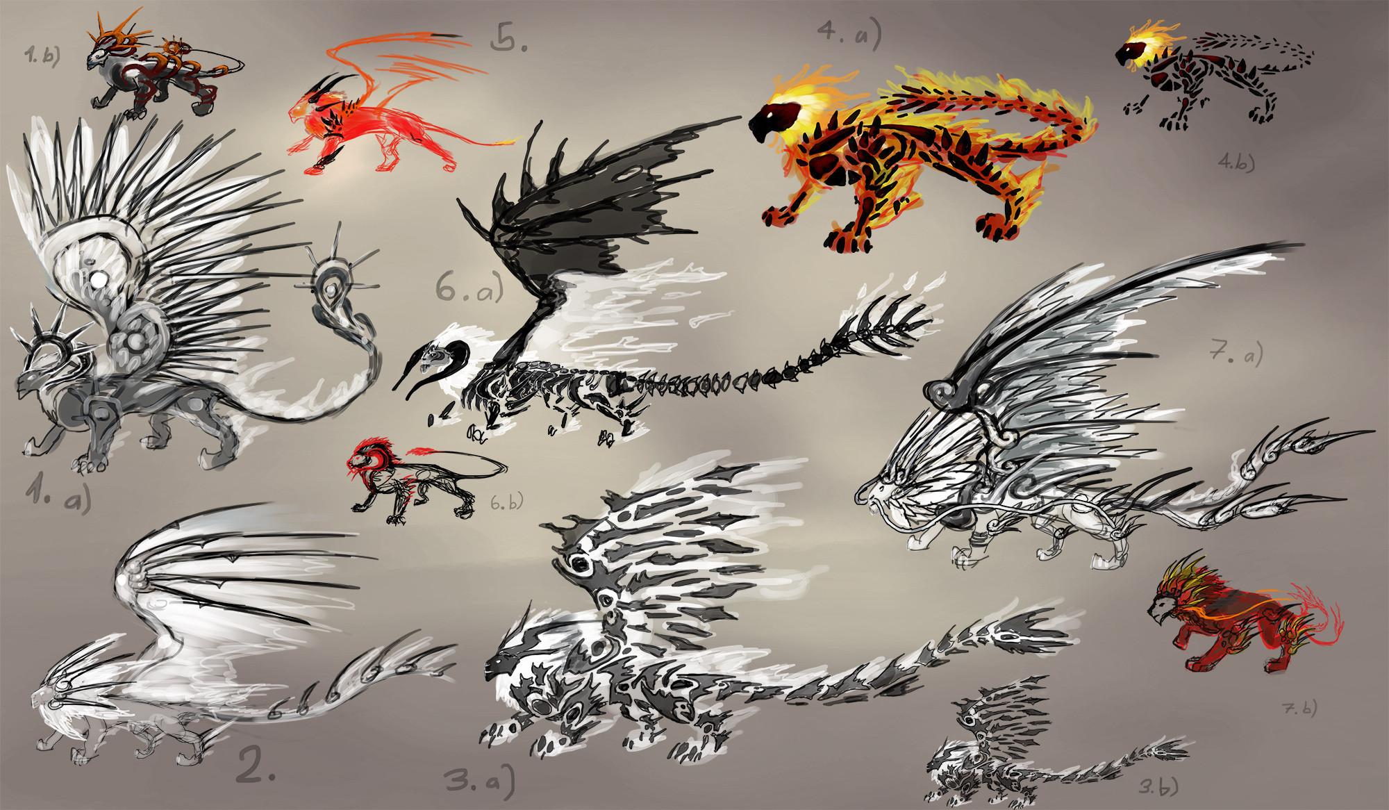 Concept ideas for a fire lion