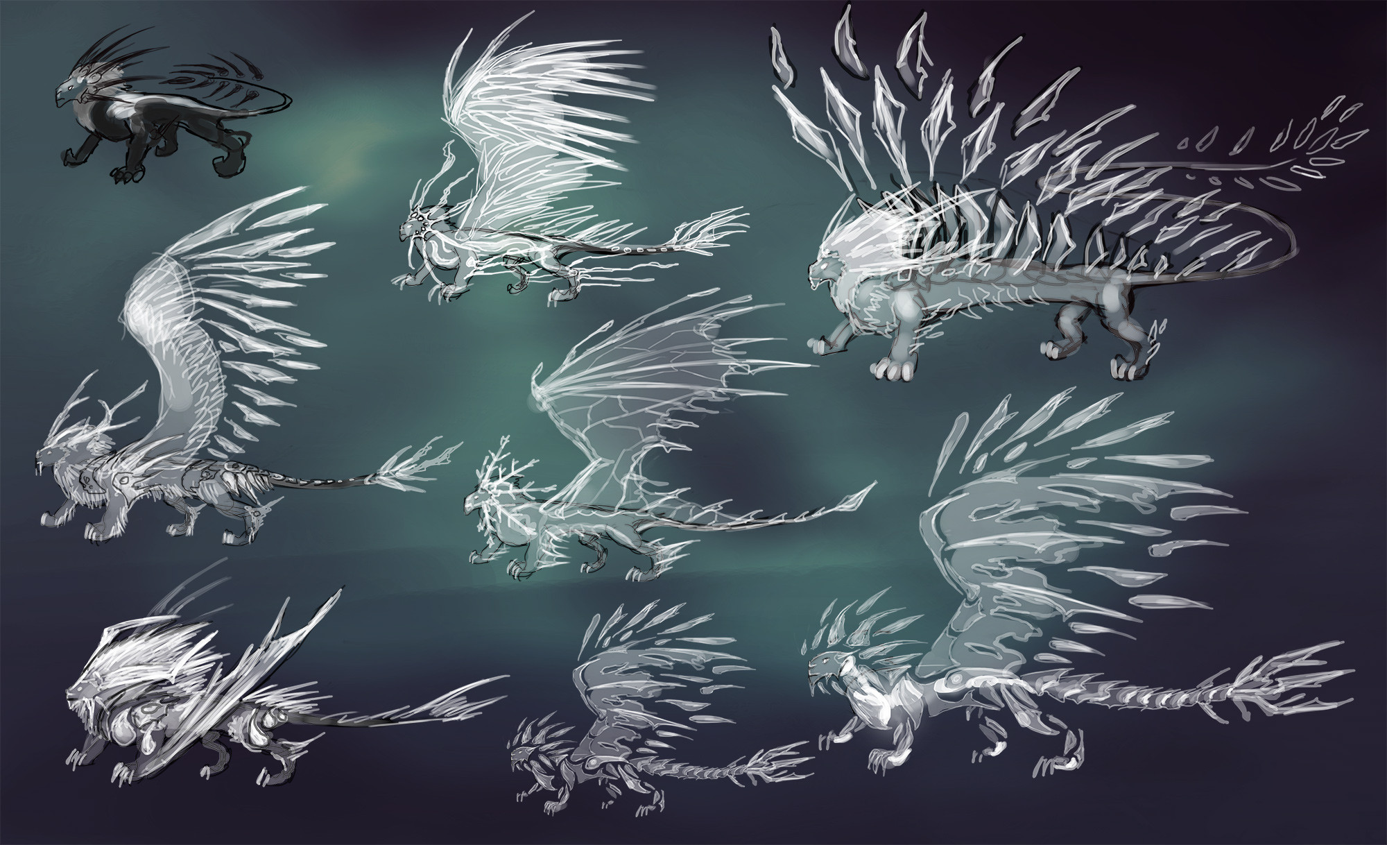 Concept ideas for an ice lion
