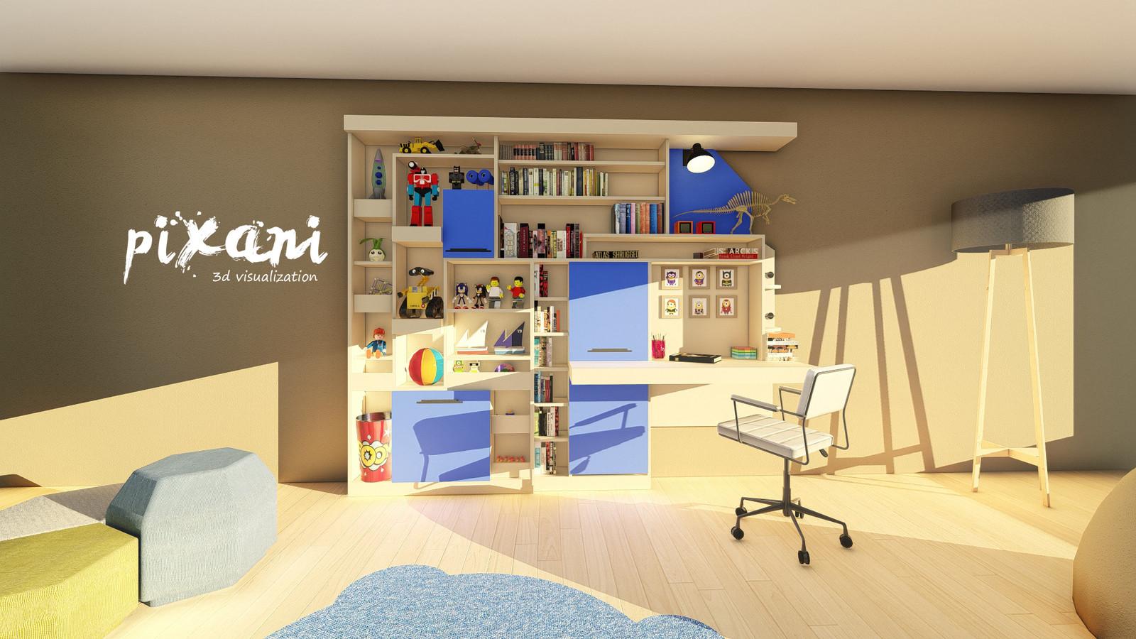 Sky & Cotton Candy Children Room || Gökyüzü & Pamuk Şeker Çocuk Odası   Furniture Design SKY MODEL 3D modeling + Render visualization Project   Designed by Serdar Çakmak #pixani