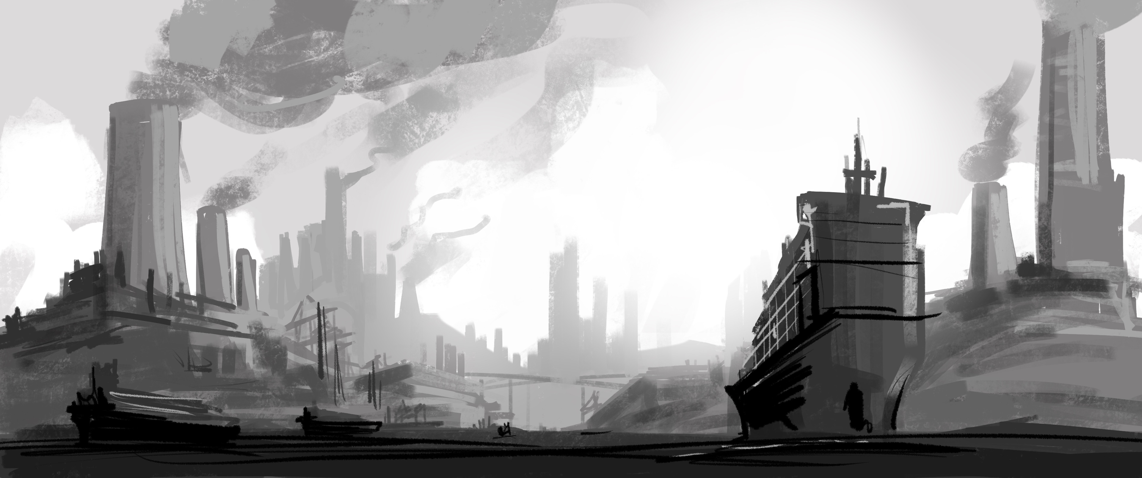 Industrial Island - Grey sketch